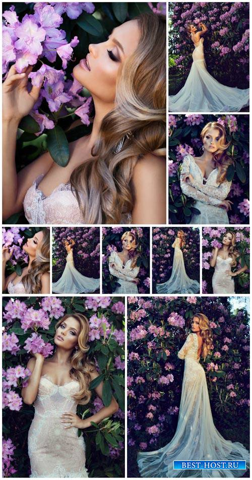 Beautiful bride in the flowered garden - stock photos
