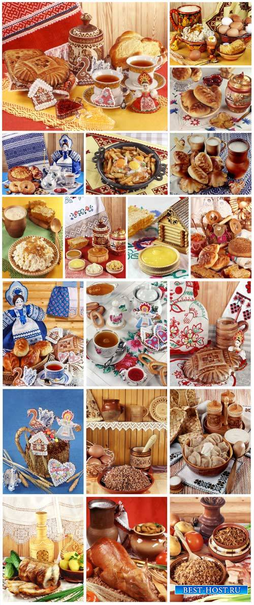 Russian food, cakes, meat, cereal - stock photos