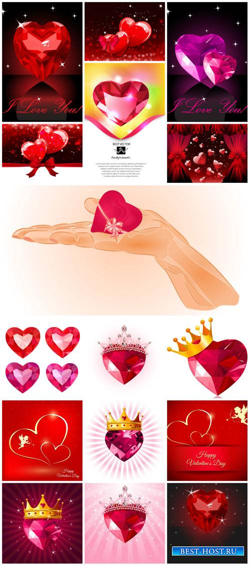 Valentine's Day vector, romantic backgrounds, hearts
