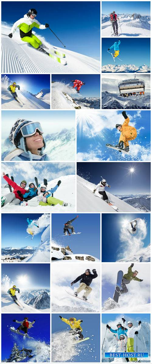 Skiing, winter holidays in the mountains - stock photos