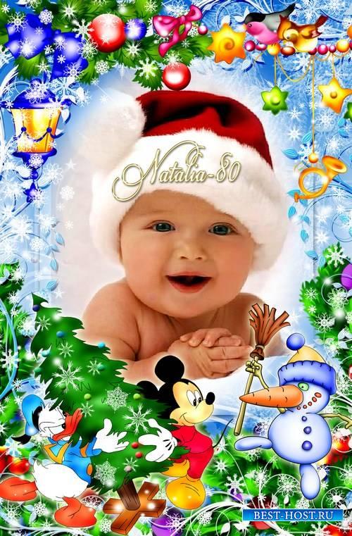 Яркая детская рамочка для фото - Встречаем Новый Год с героями Диснея