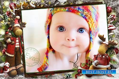Детская рамочка для фотографий - Встречаем Новый год весело