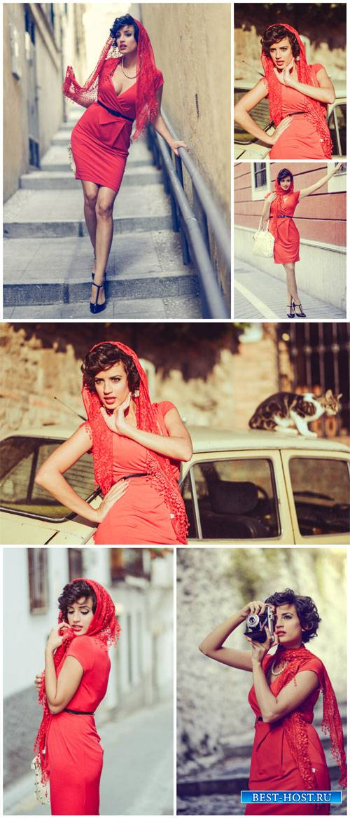 Italian girl in a red dress - Stock Photo