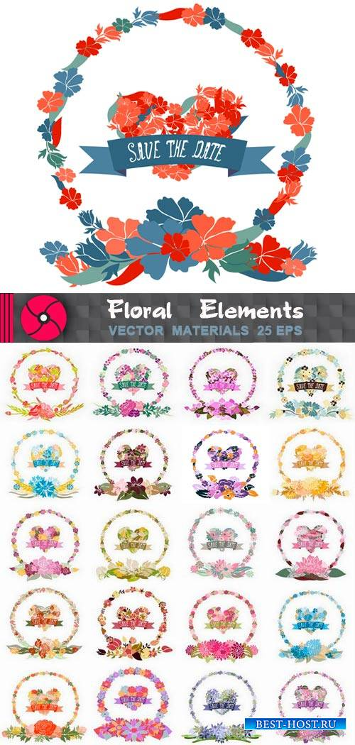 Цветочные элементы декоры для украшения