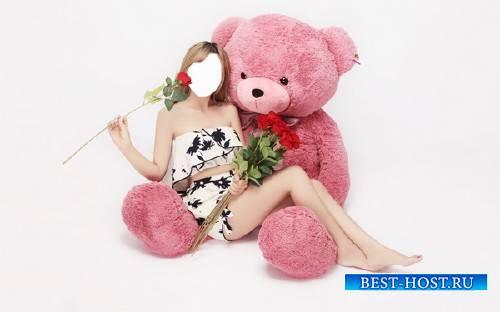Шаблон для Photoshop - С плюшевым розовым мишкой