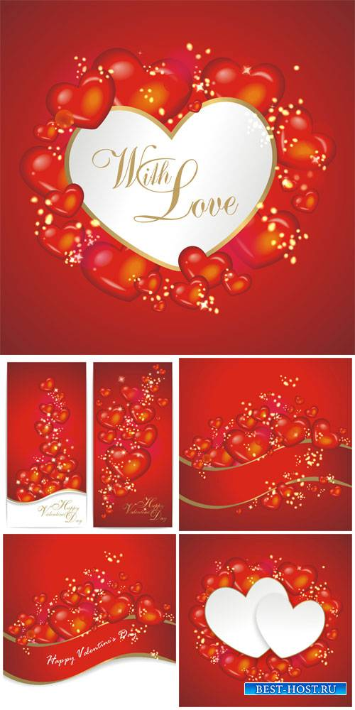 Valentine's Day, backgrounds, banners, hearts, vector # 3