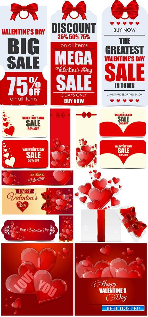 Valentine's Day, backgrounds, banners, hearts, vector # 5