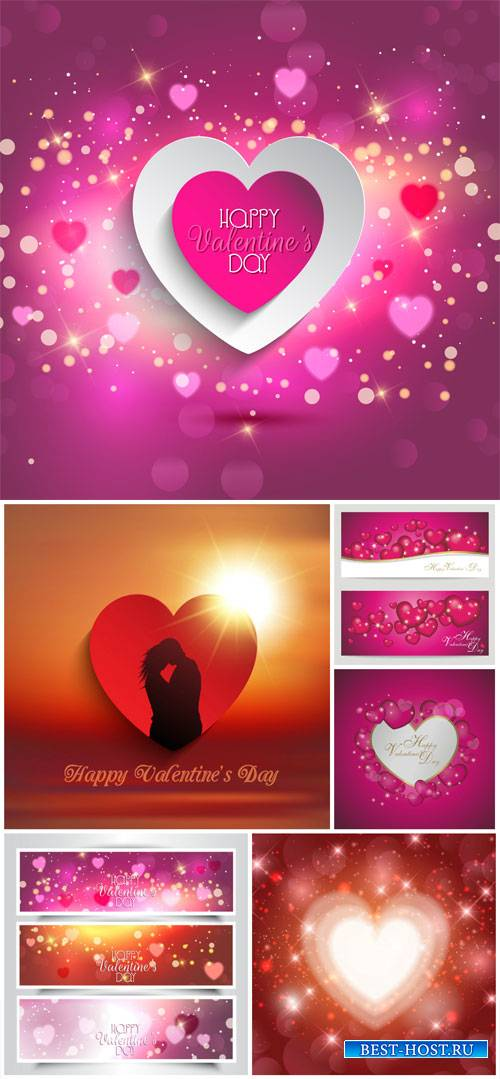 Valentine's Day, backgrounds, banners, hearts, vector # 1