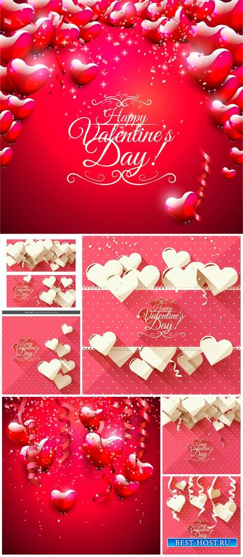 Valentine's Day, backgrounds, banners, hearts, vector # 4