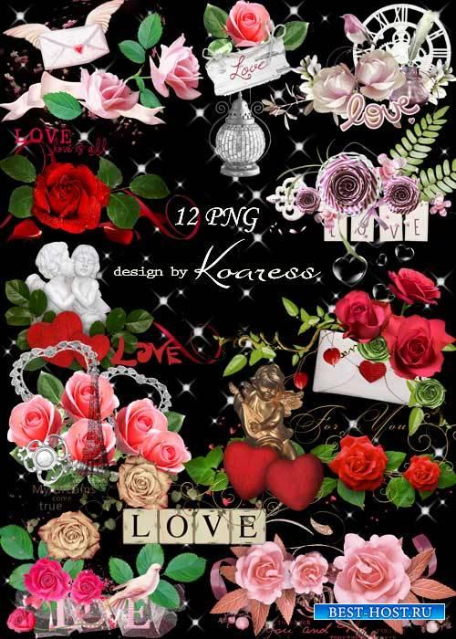 Набор романтичных кластеров для фотошопа к Дню Всех Влюбленных с алыми серд ...