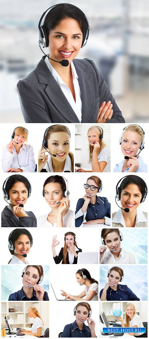 Operator, girl in headphones - stock photos