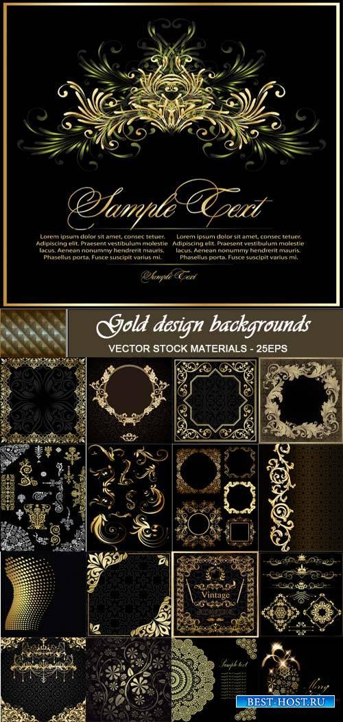 Черные фоны с золотыми узорами
