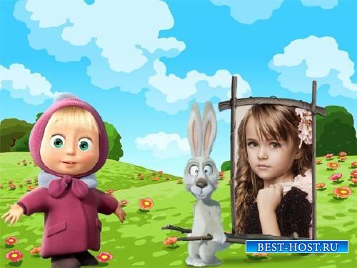 Рамка для фотографии - Маша и заяц на поляне
