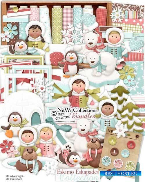 Детский зимний скрап-комплект - Eskimo Eskapades