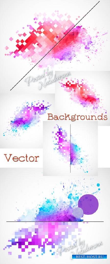 Абстрактные фоны в Векторе – Акварельные брызни и мозаика