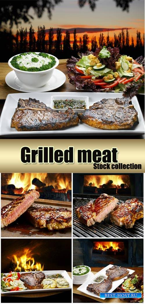 Grilled meats, delicious food - stock photos