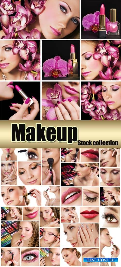 Makeup, beautiful women - Stock Photo