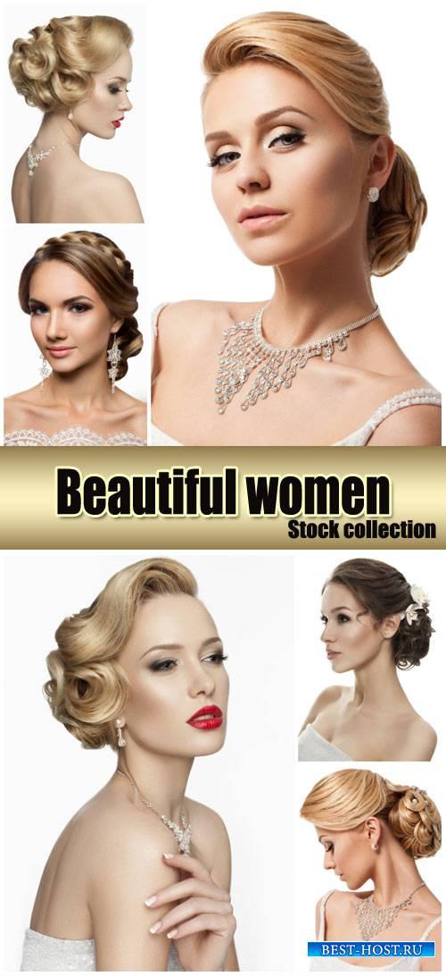 Wedding hairstyles, beautiful bride - stock photos