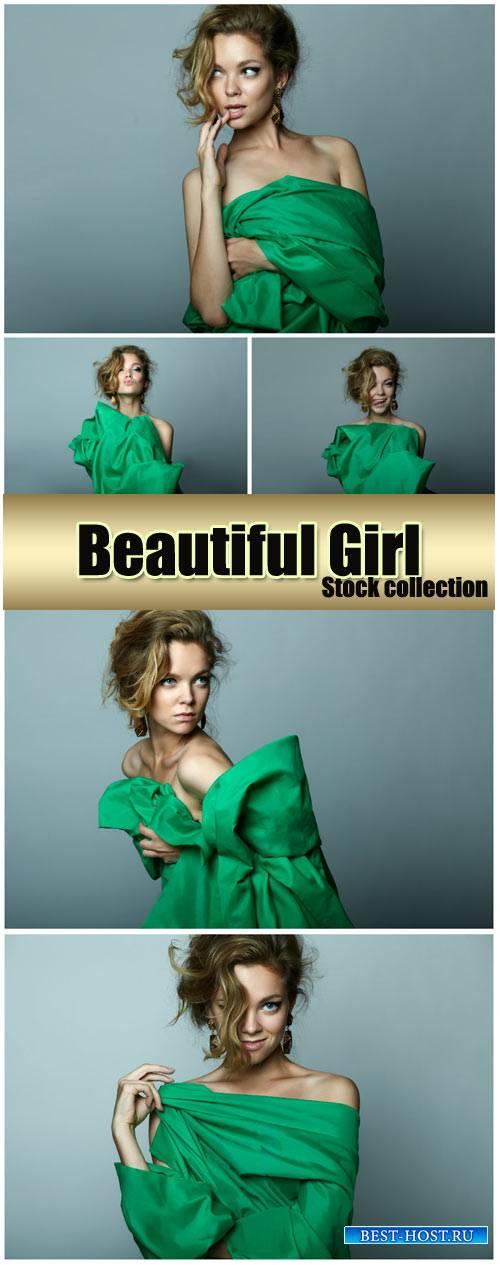 Beautiful girl in green - stock photos