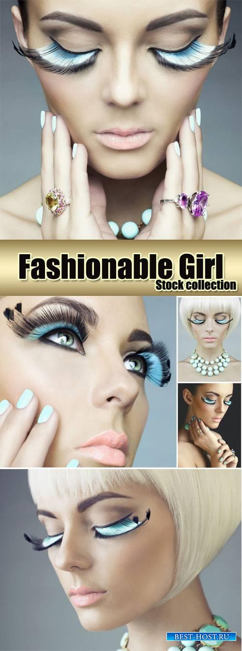 Fashionable women, creative makeup - stock photos