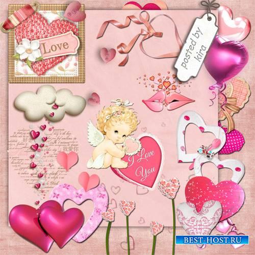 Клипарт на прозрачном фоне - Розовые сердца