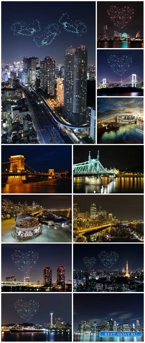 Night city, fireworks - Stock Photo