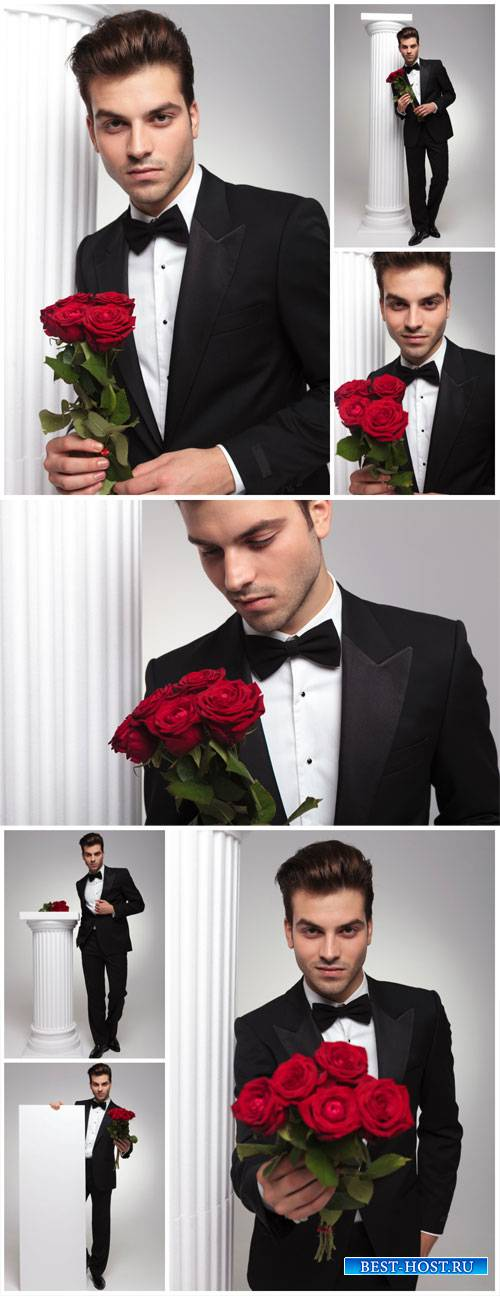 Man with a bouquet of red roses - stock photos