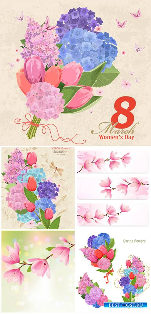 Flowers, women's day, 8 march, vector backgrounds