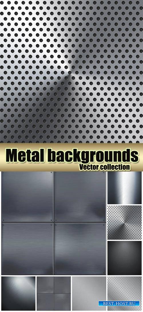 Metal vector backgrounds, textures