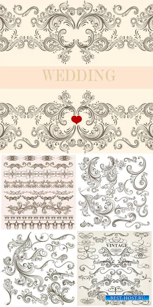 Wedding invitations, vintage decorative elements vector