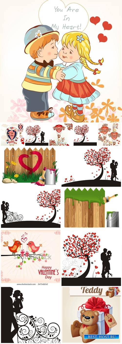 Vector collection to Valentine's Day, couples, hearts