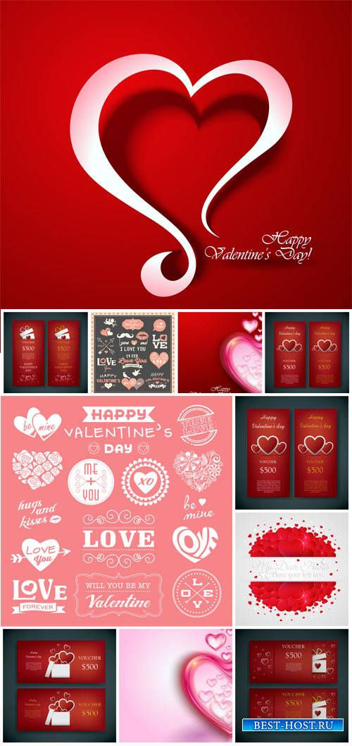 Backgrounds and banners to the day of Valentine hearts vector