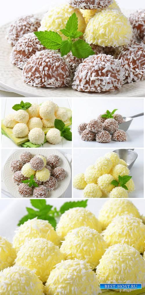 Ice cream in coconut flakes - stock photos