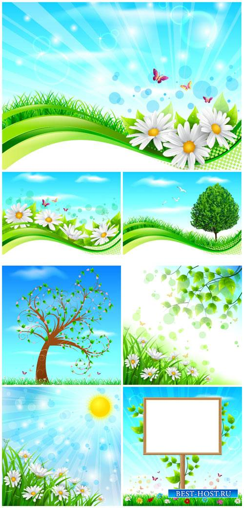 Spring, flowers and trees, vector backgrounds