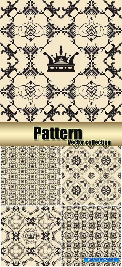 Vintage patterns, vector backgrounds with crown