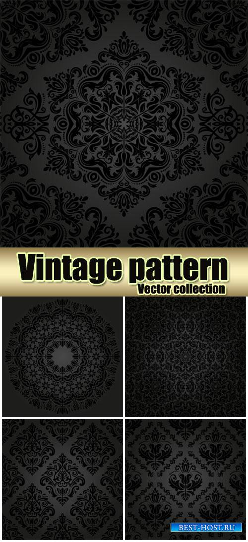 Vintage background with patterns, black backgrounds vector