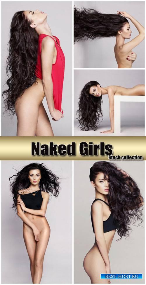 Nude girl with long wavy hair - stock photos