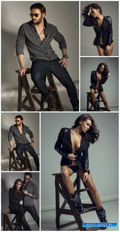 Fashion people, man, woman - stock photos