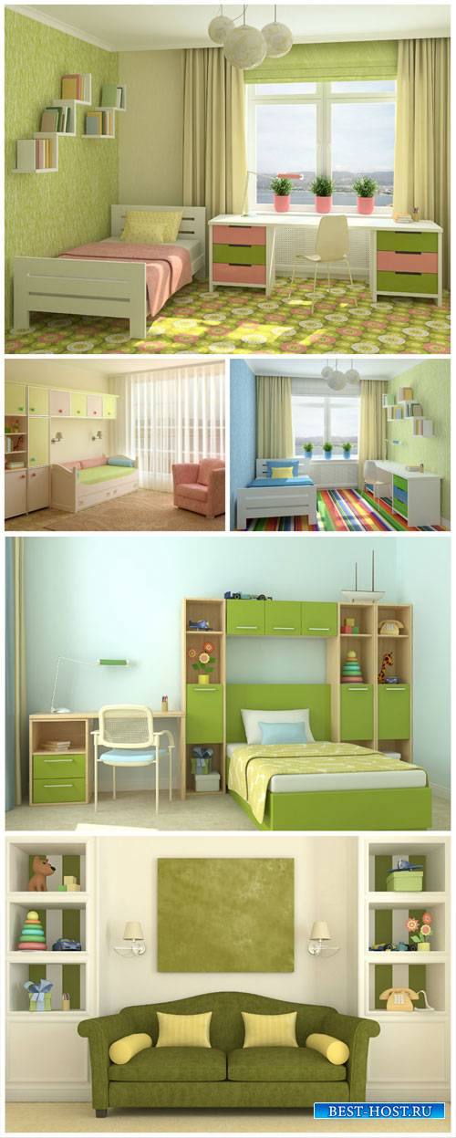 Child's room in shades of green - stock photos