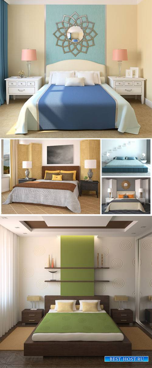 Bedroom interior, beautiful room design - stock photos