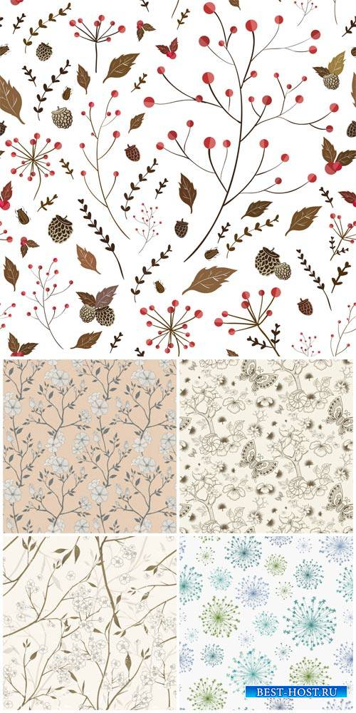 Vector backgrounds with floral elements, flowers