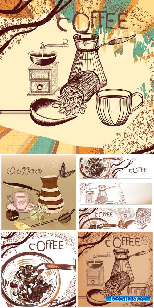 Coffee, vintage backgrounds and banners vector