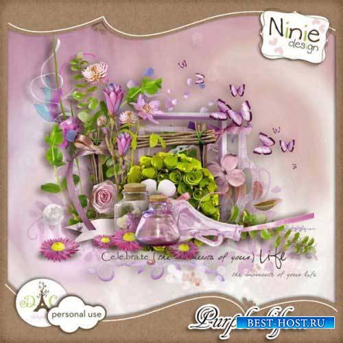 Цветочный скрап-комплект - Жизнь в пурпуре