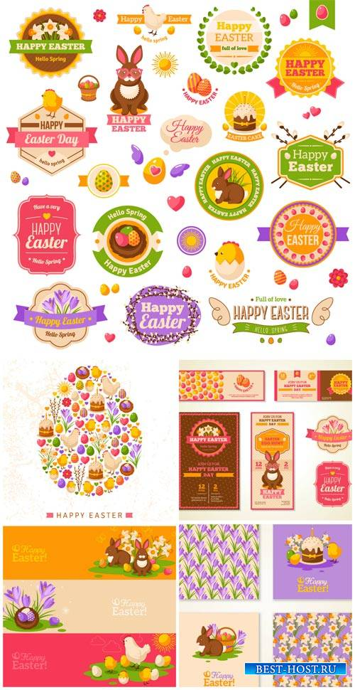 Happy Easter, labels and backgrounds vector