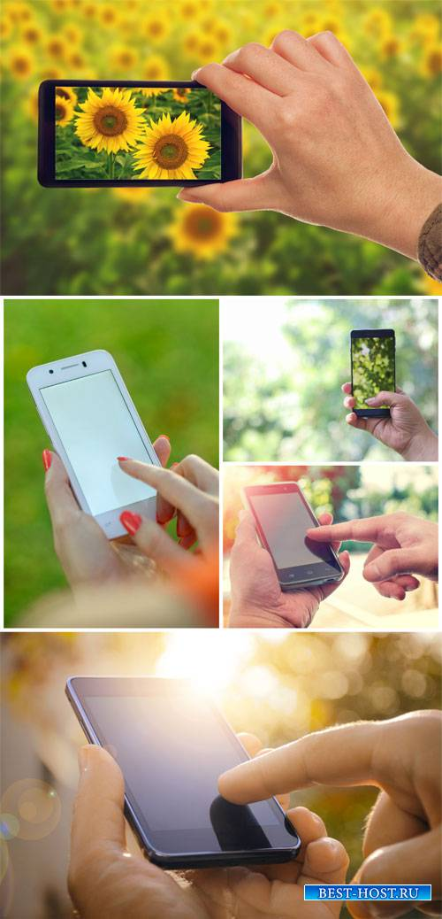 Smartphone in hand - stock photos