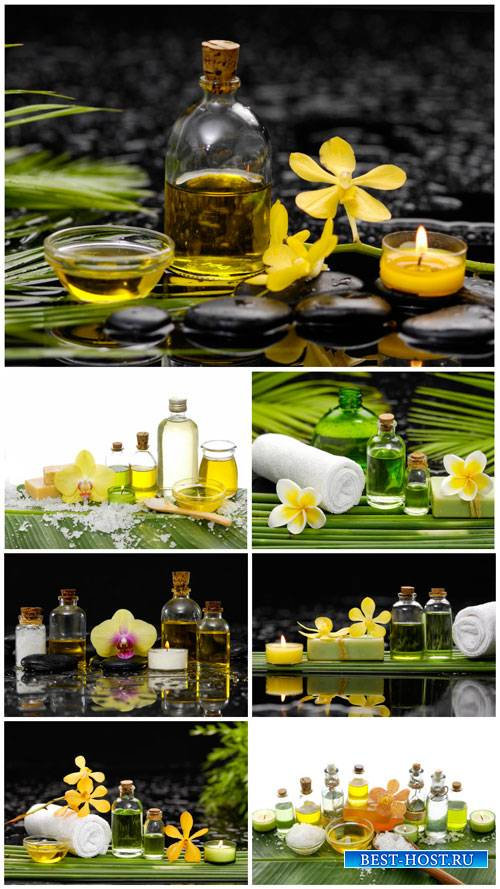 Spa backgrounds, aromatic oils, candles - stock photos