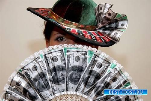 Шаблон женский - С веером из долларов