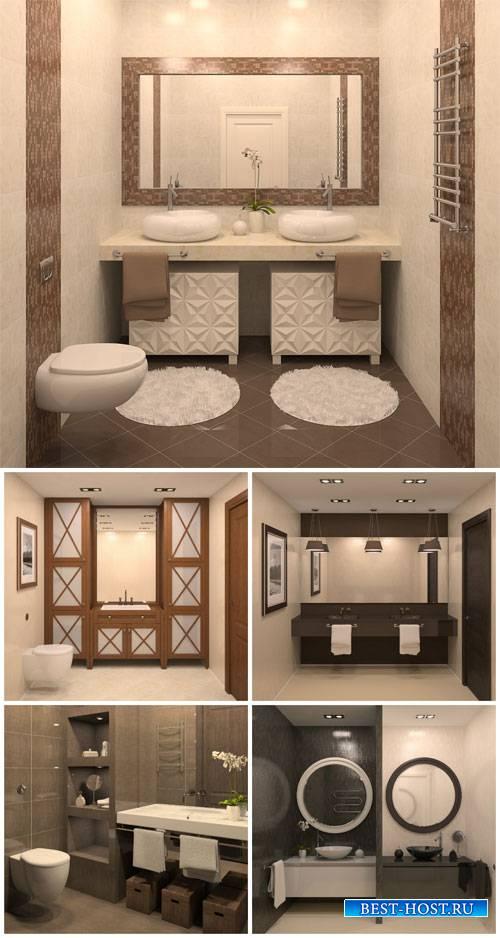 Bathroom interior in shades of brown - stock photos