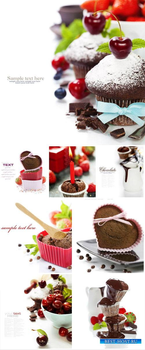 Cupcakes with chocolate and cherry - stock photos