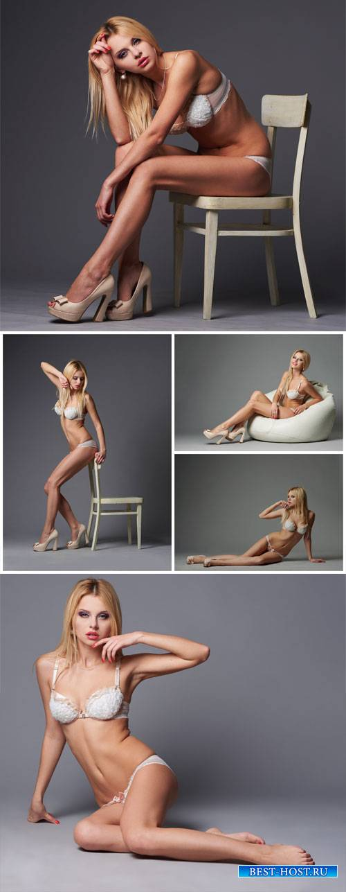 Girl in lingerie in different positions - Stock photo